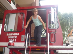 Checking out one of the ladder trucks