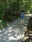 Sawyer following Sims' Trail Map