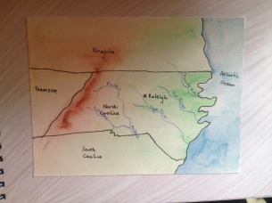 NC map-wet on wet watercolor