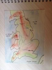 Wet on wet watercolor of England