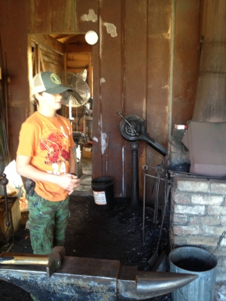 First time in a blacksmithing shop.