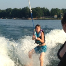 Surfing behind the boat