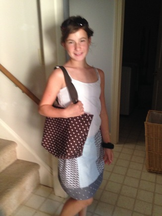 Skirt and bag made from a pattern