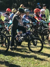 Start line of Mountain bike race