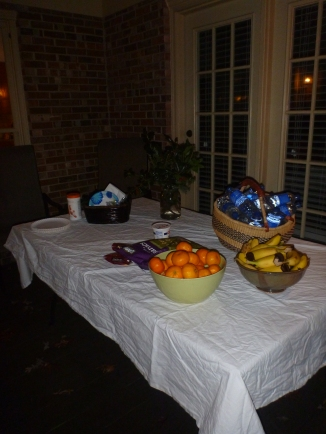 Chili, muffins, and fruit to fill us up!