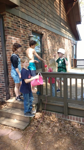 Easter Egg hunt with the cousins! Sims set up the egg hunt this year.