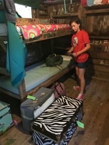 Setting up her bunk