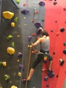 Sawyer began lead climbing this month!