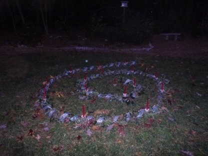 The original spiral with beautiful red candles. Gusty winds required us to switch to tea lights.