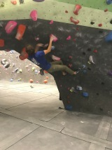 Sims bouldering after practice