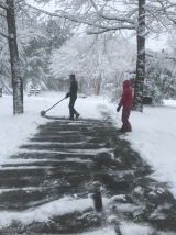 Sims shoveling the drive