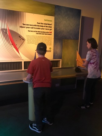 Sawyer and Parks checking out the DaVinci Exhibit at Discovery Place