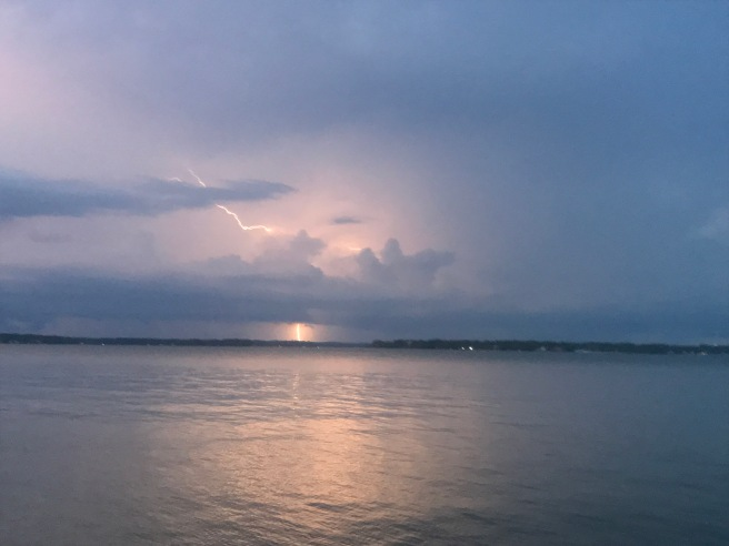 A storm across the lake