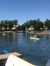 Paddleboarding with friends