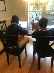 Sawyer and Parks getting some schoolwork done