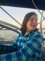 Thanksgiving ride on the boat=she's driving!