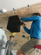 Sims and Parks working on the wall