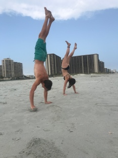 PLaying at the beach-handstands