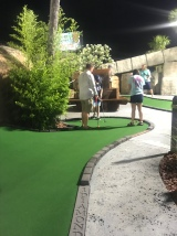 Playing at the beach-mini golf