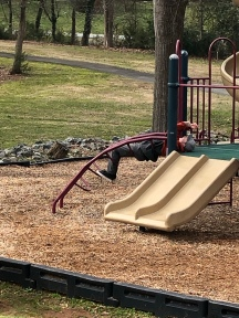 Parks hangin on the playground