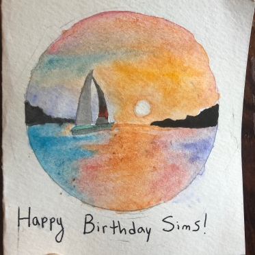 watercolor card for Sims